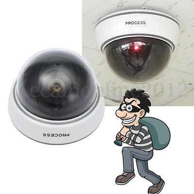 Dummy CCTV Home Outdoor Fake Security Dome Camera with Flashing Red LED Light