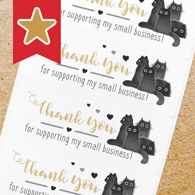 Thank You Labels Stickers For Online Shop Sellers 100ct - 4 Black Cats
