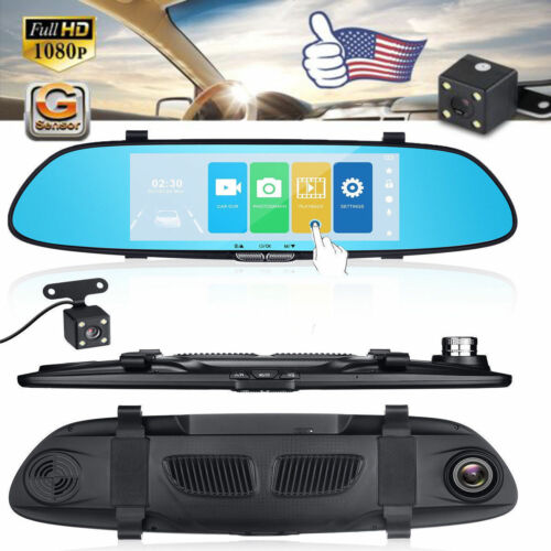 Dual Lens HD 1080P 7'' Vehicle Rearview Mirror Camera Recorder Car DVR Dash Cam