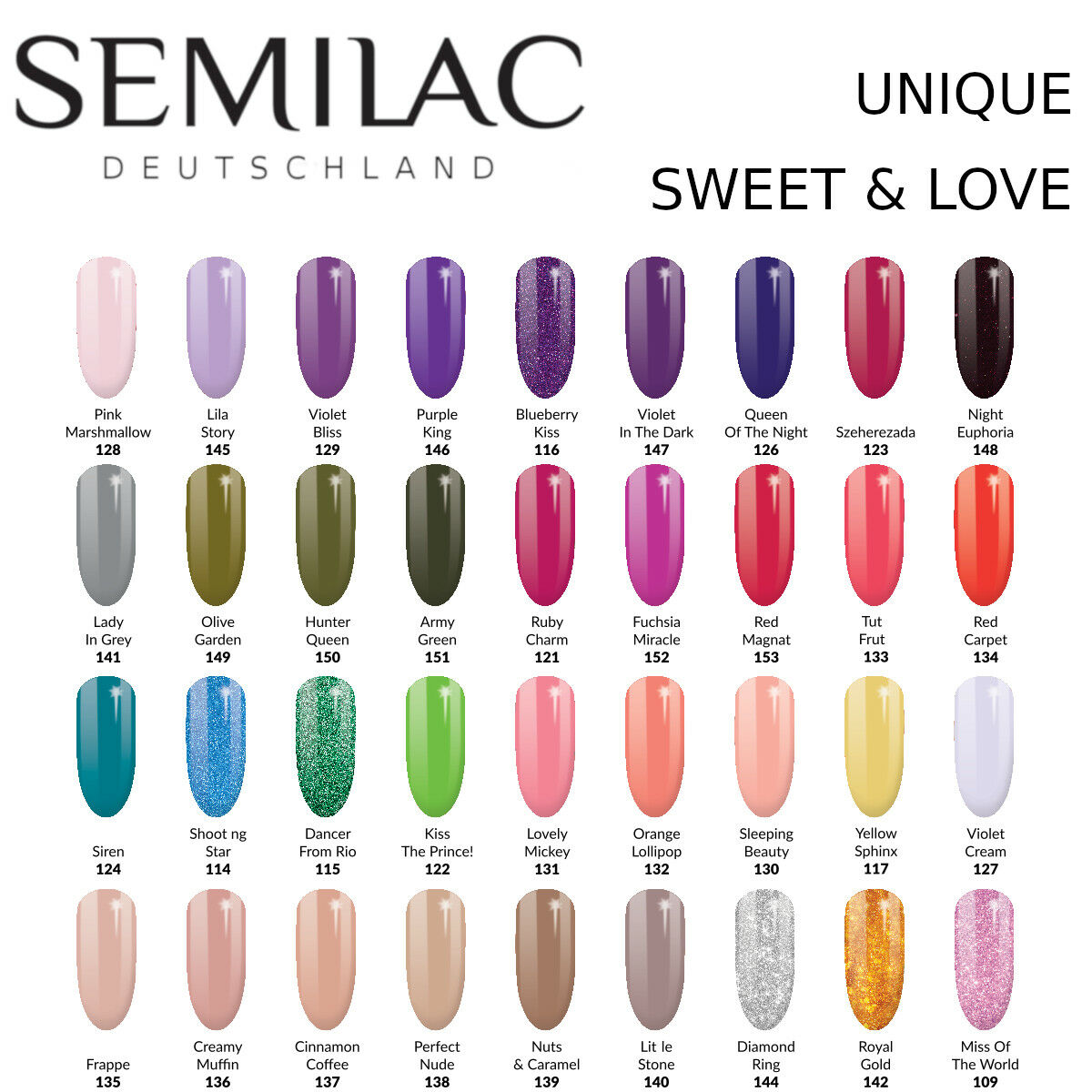 Semilac UV LED Nagellack 7ml , Gel Polish, UV Hybrid,  Unique und Sweets & Love