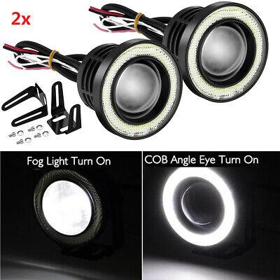 "2.5"" Car LED Fog Light Projector Driving Lamp COB Angel Eye Halo Ring DRL White"