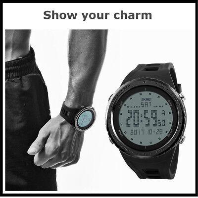 SKMEI Men LED Digital Alarm Sport Watch Silicone Military Army Quartz Wristwatch