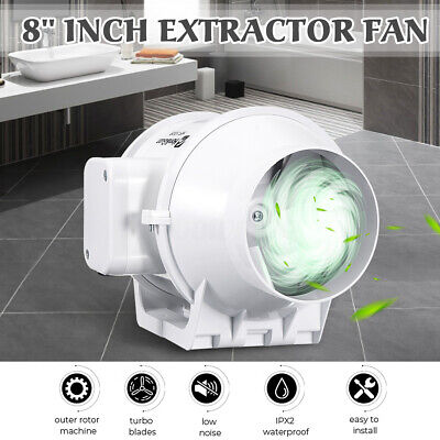 8'' inch 200mm Double Speed Ventilation Pipe Tube Extractor Inline Drainage Fan