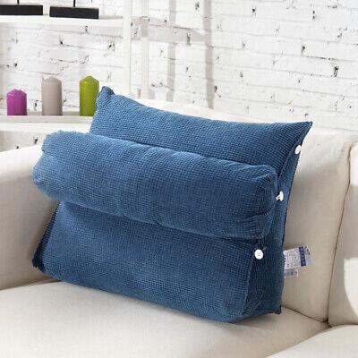 Ergonomisches Rückenkissen mit Nackenrolle Keilkissen Lesekissen Blau 60x50x22cm