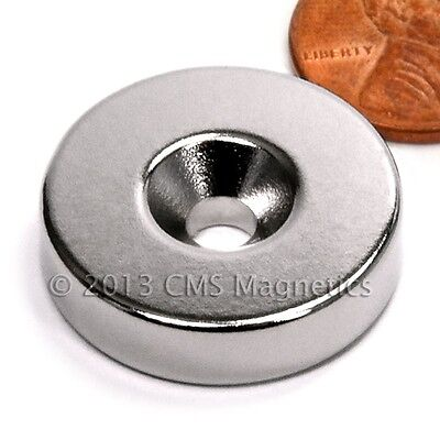 Cms Magnetics N42 Neodymium Disc Magnet 1x 14 W 10 Countersunk Hole 10-pc