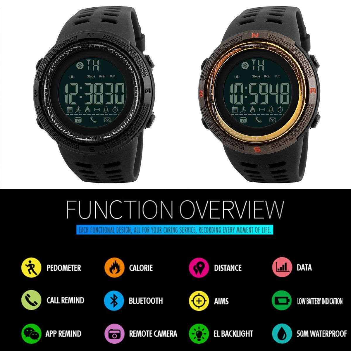 skmei fashion mens smart watch bluetooth digital sports
