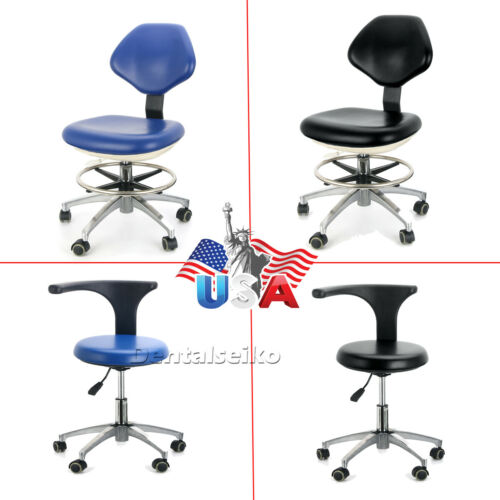 PU Leather Medical Dental Stool Doctor Assistant Stool Mobile Chair Adjustable