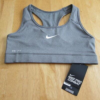 Nike Dri-Fit Pro Combat Sports Bra Compression Spandex Gray XL CrossFit Jog Yoga