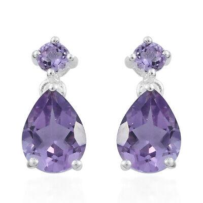 925 Sterling Silver Pear Purple Amethyst Dangle Drop Earrings for Women -