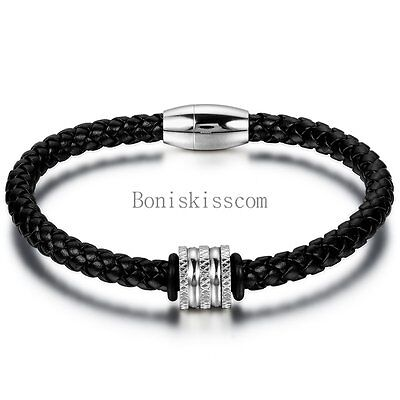 Men's Black Braided Leather Rope Bracelet Stainless Steel Magnetic Cuff Bangle