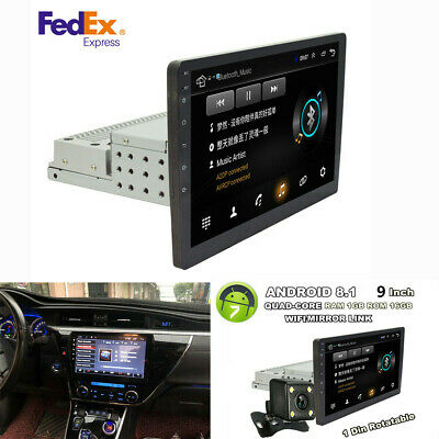 "1DIN Rotatable 9"" Touch Screen Android 8.1 1080P Quad-core Stereo Radio W/ Cam"