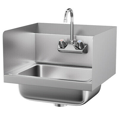 Stainless Steel Hand Washing Sink NSF Commercial with Faucet and Side Splashes (Stainless Splash)