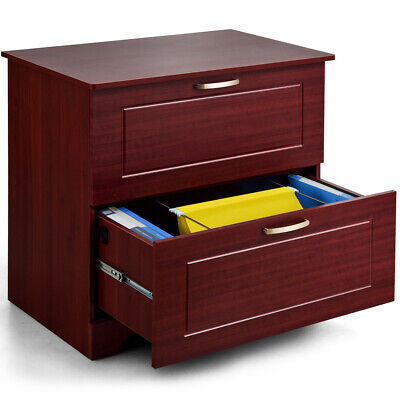 2-drawer Lateral File Cabinet Wadjustable Pole Legalletter Size File Brown