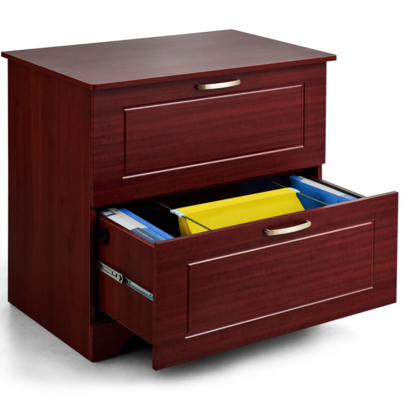 2-Drawer Lateral File Cabinet w/Adjustable Pole Legal/Letter Size File Brown