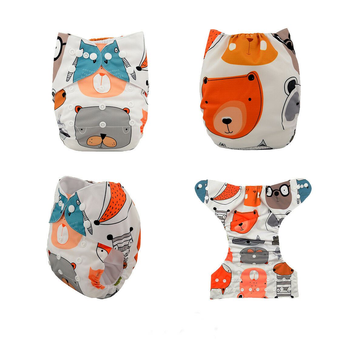 ALVABABY Reusable Baby Cloth Diapers OneSize Washable Pocket Nappies With Insert YD07