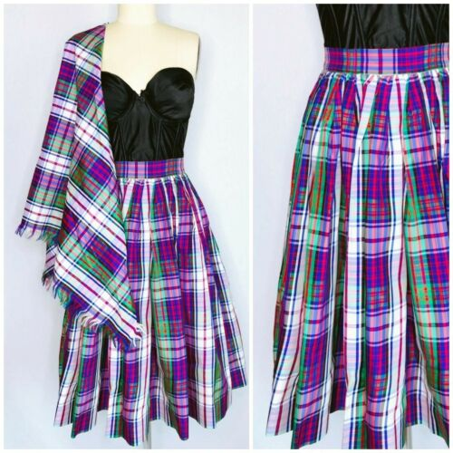 Vintage Acetate Purple Tartan Plaid Skirt with Shawl Size S Small Cocktail Party