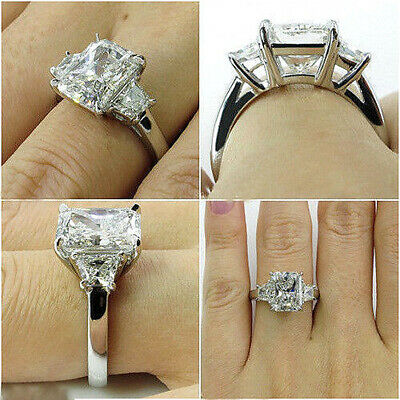 Lovely 2.50 Ct Radiant Cut with Trapezoid Diamond Engagement Ring J SI1 14k GIA 1