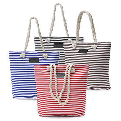 Large Nautical Tote Beach Bag Striped Rope Handles Shopping Tote Satchel Zip Bag