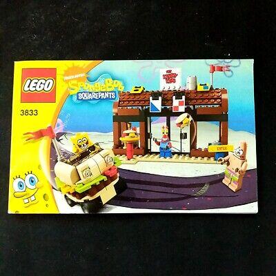 Lego 3833 Spongebob Squarepants Krusty Krab Adventures Instruction Manual Only