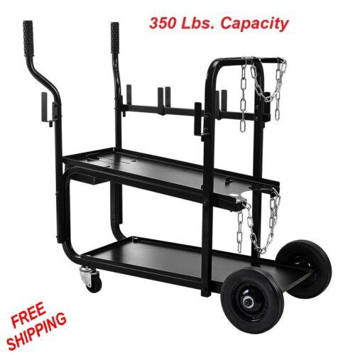 Rolling Welding Cart Two Tier Shelf Welder Gas Cylinder Mobile Transport Tool