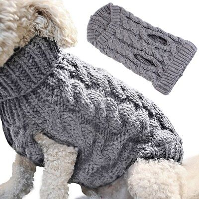 Small Dog Knit Jacket Sweater Pet Cat Puppy Coat Clothes Warm Costume Apparel - Small Dog Costumes