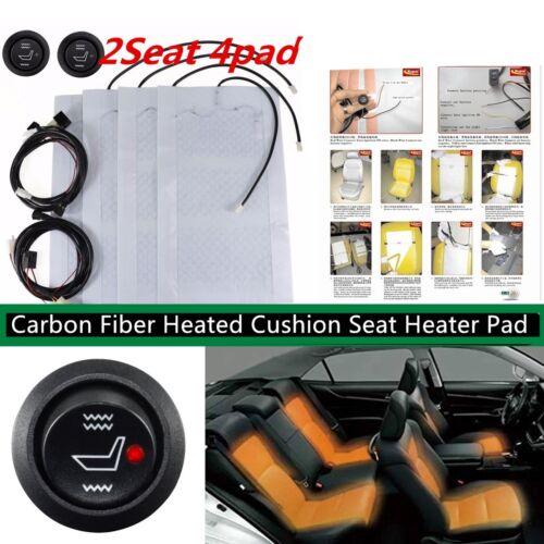 2 Seat Carbon Fiber Heated Cushion Seat Heater Pad Switch Kit 12V Seat Warmer