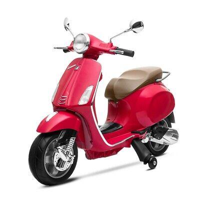 Moto electrica niños VESPA ROJA oficial bateria 6V recargable triciclo +3 años