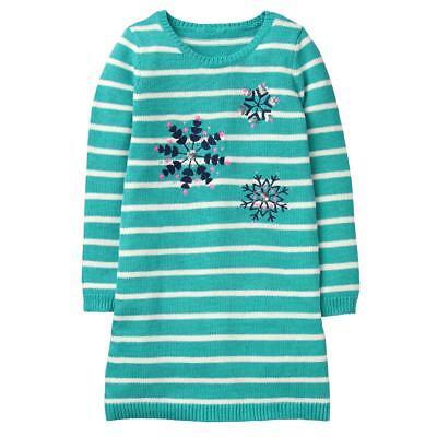 NWT Gymboree Winter Star Teal Snow Sweater Dress Girls 5/6,7/8,10/12,14