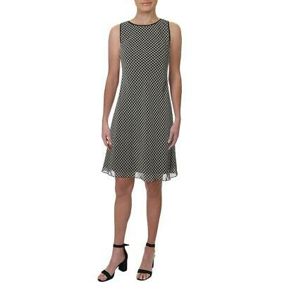 Lauren Ralph Lauren Womens B/W Printed Sleeveless Shift Dress 8 BHFO 9789