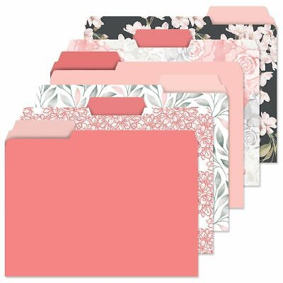 Decorative Coral Charcoal File Folders Set Of 24 6 Designs Document Storage Gift