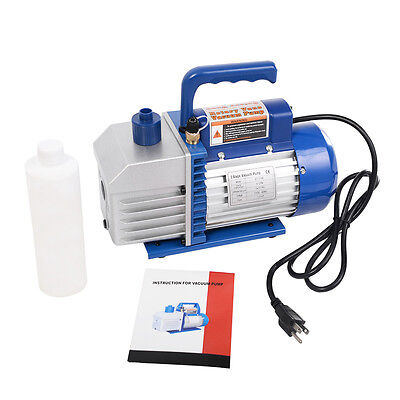 Dual 2 Stage 4cfm 13hp Rotary Vane Deep Vacuum Pump Hvac Ac Air Tool R410a R134
