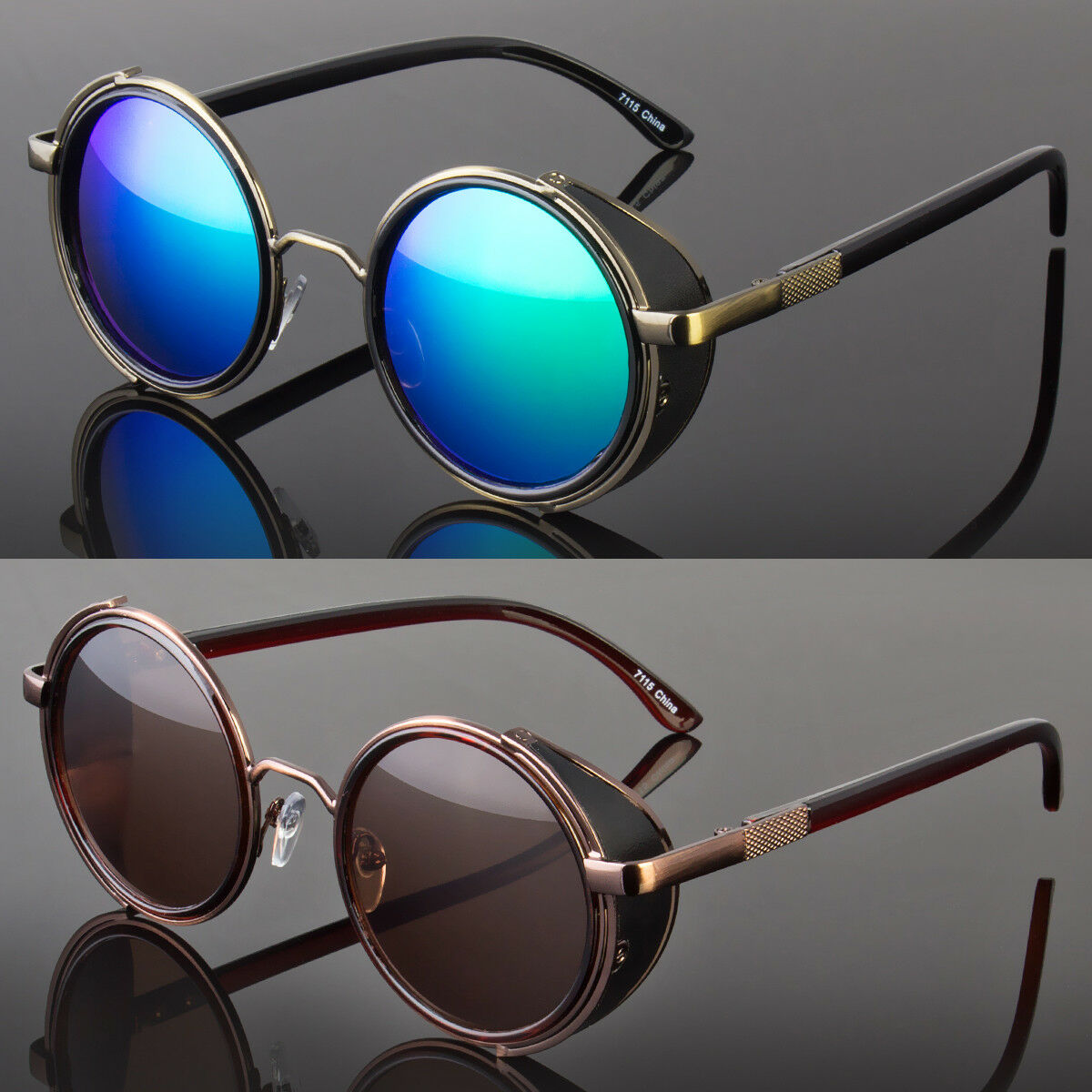 Round Metal Sunglasses Steampunk Men Women Fashion Glasses B