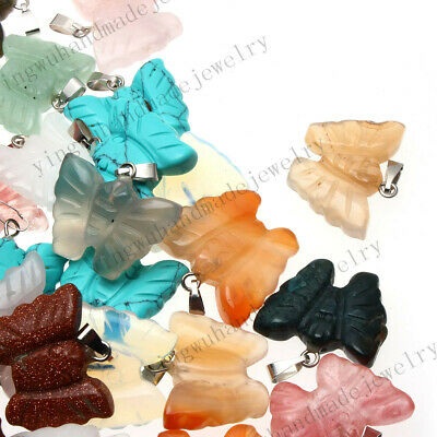 Natural Carved Butterfly Gemstone stone Silver Beads Pendant 20pcs/lot Wholesale (Carved Butterfly Silver Pendant)