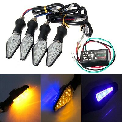 4x 12 Amber LED Motorcycle Motorbike Turn Signal Indicators light Flasher Relay