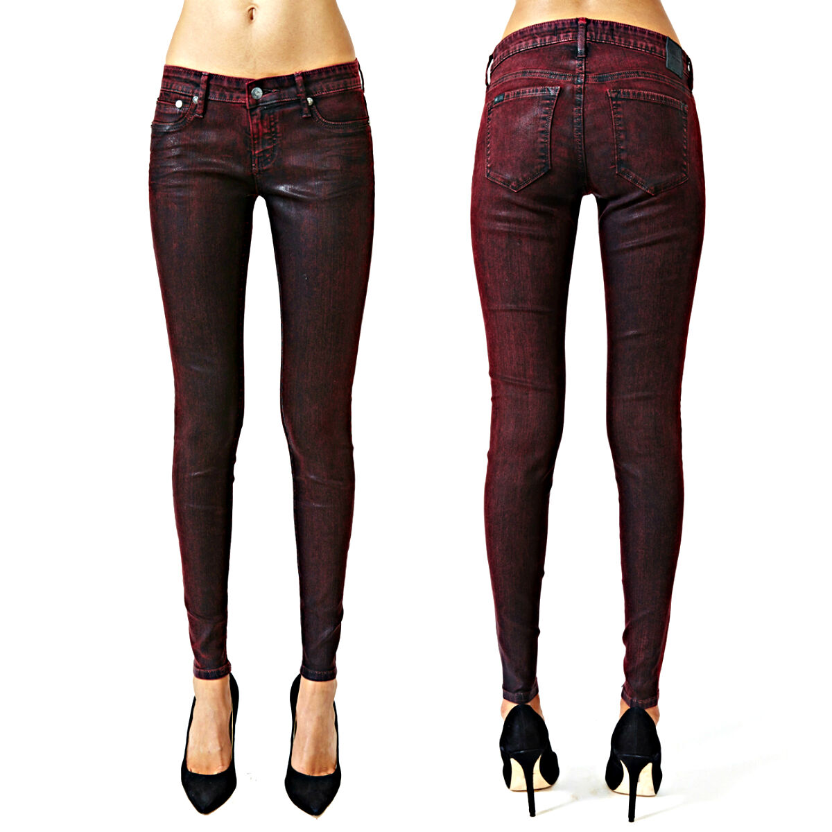 KILL CITY LIP SERVICE WAX PU COATED LEATHER LOOK LEGGINGS SKINNY PANTS JEANS EMO Clothing, Shoes & Accessories