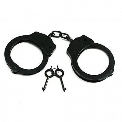 New Nickel Plated DOUBLE LOCK POLICE Hand Cuffs Security Law Handcuffs w Keys
