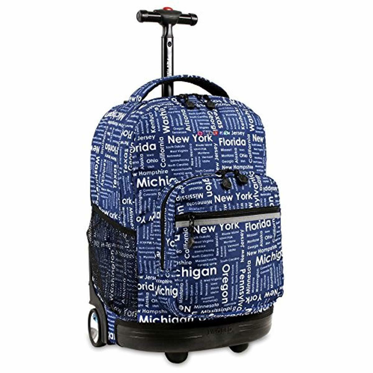 Rolling Backpack For Boys Kids School Bag With Wheels Blue P