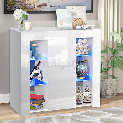 Modern High Gloss Buffet Sideboard with LED Light Storage Cabinet Cupboard White