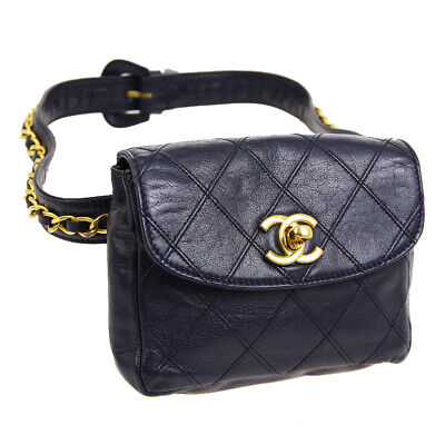 Auth CHANEL Cosmos Line CC Chain Waist Bum Bag Navy Leather Vintage A41688d