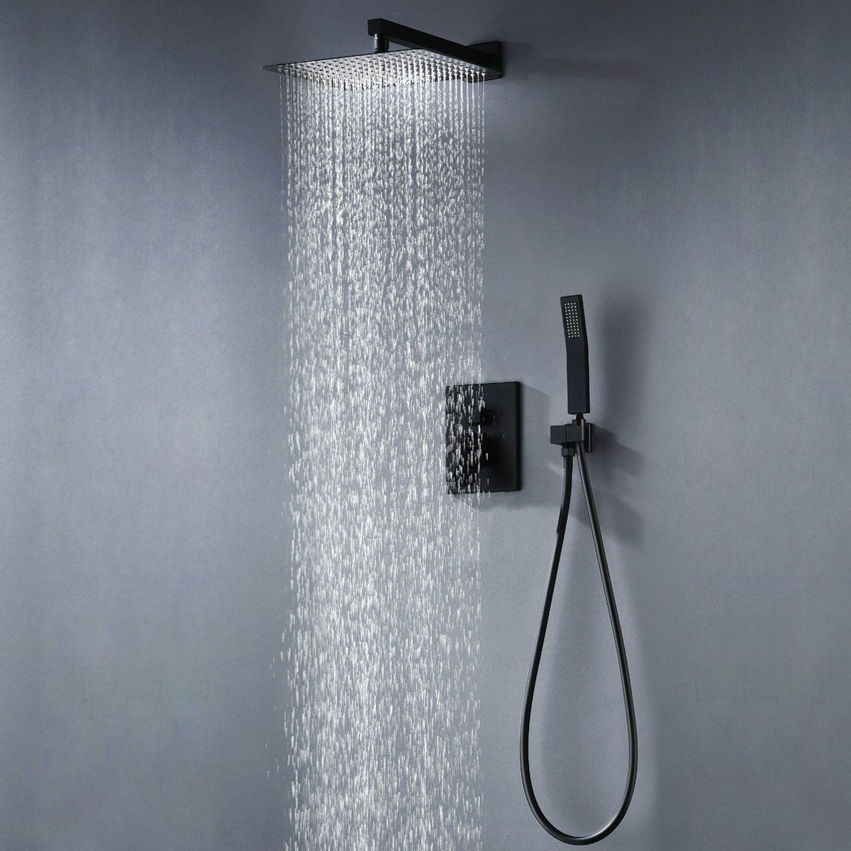 Details About Shower Faucet System 12 Inch Rain Shower Head With Hand Shower Matt Black