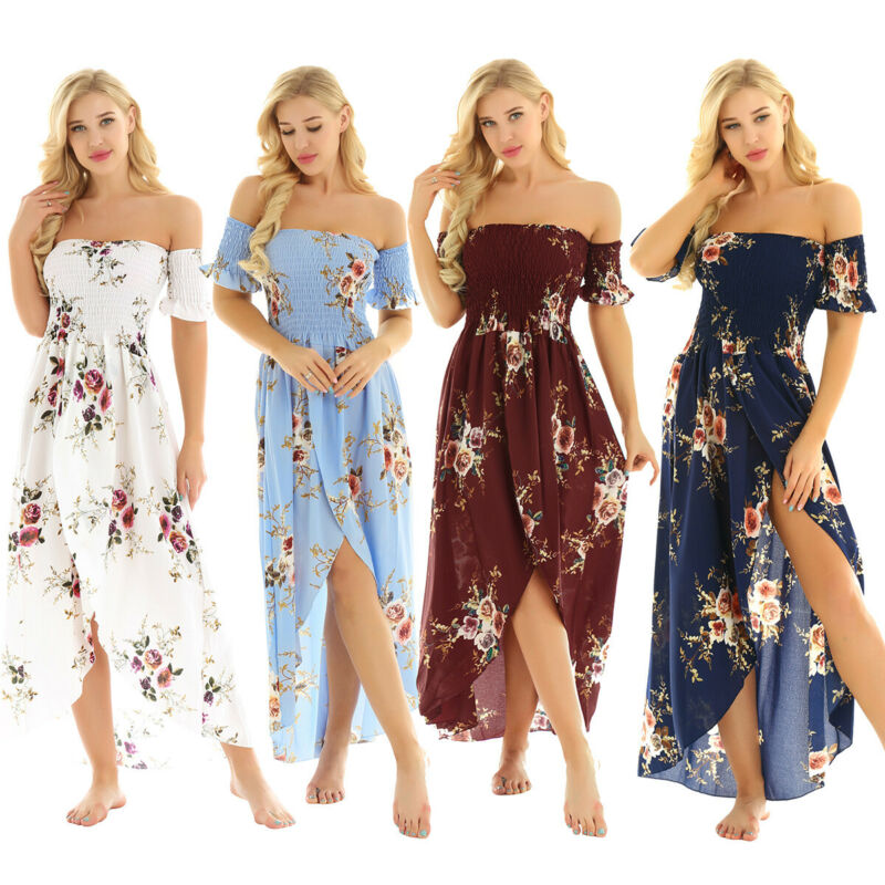 Summer Women Long Bohemian Dress Outdoor Beach Casual A-Line Sundress Flowers Elastic Waist Floral Halter Skirt