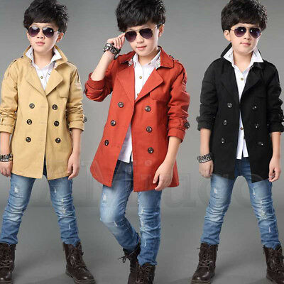 Trench Coat Boys (Unisex Adult Kid Wind Coat Deluxe Trench Coat Boy Girl Double-Breasted)