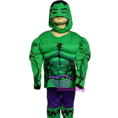 Muscle Superhero Incredible Hulk Avenger Fancy Costume Outfit Halloween 3T-7 - Hulk Outfit
