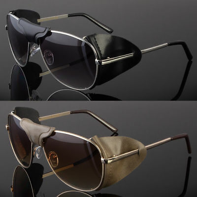 FAUX LEATHER BRIDGE EYE SHIELD AVIATOR SUNGLASSES CLASSIC MOTORCYCLE SIDE (Aviator Sunglasses Side Shields)