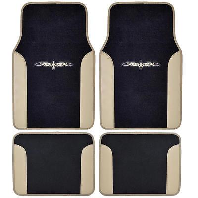 Beige/ Black Car Carpet  Floor Mats Liner w/ Tattoo Design 2-Tone Color - - Ranger Tattoo