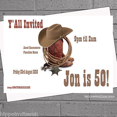 Cowboy Boots Hat Rodeo Themed Birthday Party Invitations x 12 +envs H0689 - Cowboy Themed Birthday