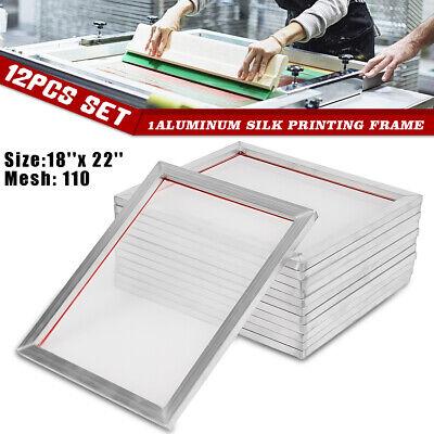 12-pack 18x22 Inch Aluminum Silk Screen Printing Press Frame Screens 110 Mesh