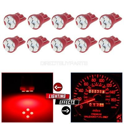 10X Red T10 Wedge W5W 168 194 2825 LED Interior/Instrument Dash Light Bulbs