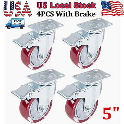 4 Pack 5inch Heavy Duty Caster Wheels Swivel All Brakes 800kg Max Load Wheels