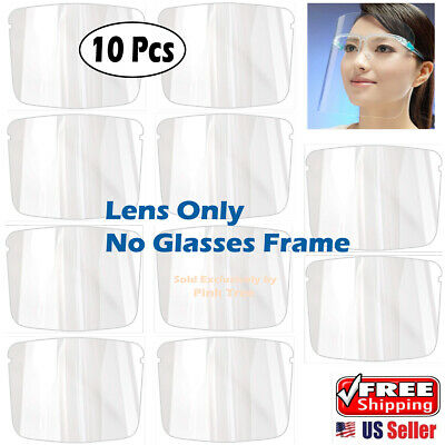 10-pack Of Reusable Replacement Lensfilm For Face Shield Transparent Plastic.